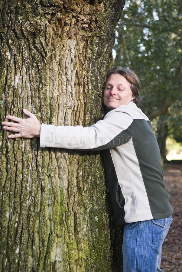Download Happy man hugging tree stock photo. Image of cheerful - 12725360