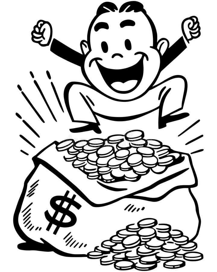 Happy Man With Jackpot. Retro Clip Art Illustration - Little fellow jumping for joy atop a bag of money stock illustration