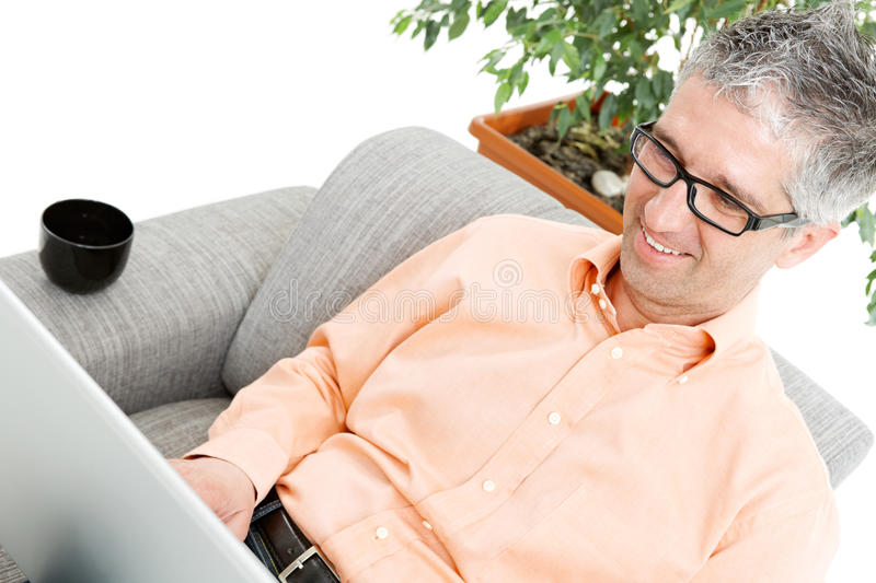 Download Happy man with laptop stock image. Image of computer, green - 9493165