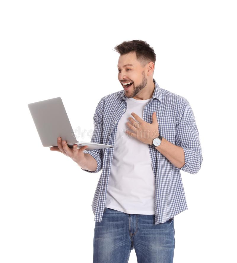 Happy man with laptop on white royalty free stock images