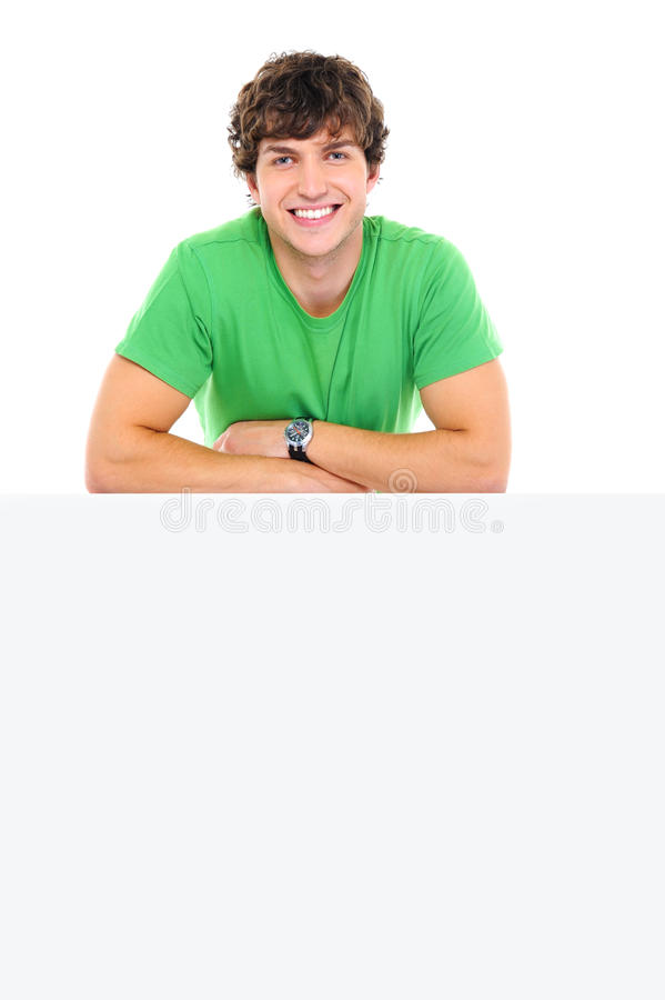 Download Happy Man Lean On The Blank Banner Stock Image - Image: 11638995
