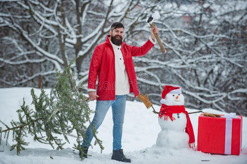 Happy man lumberjack is cutting Christmas tree in the wood. Merry Christmas and Happy Holidays. Man lumberman with stock image