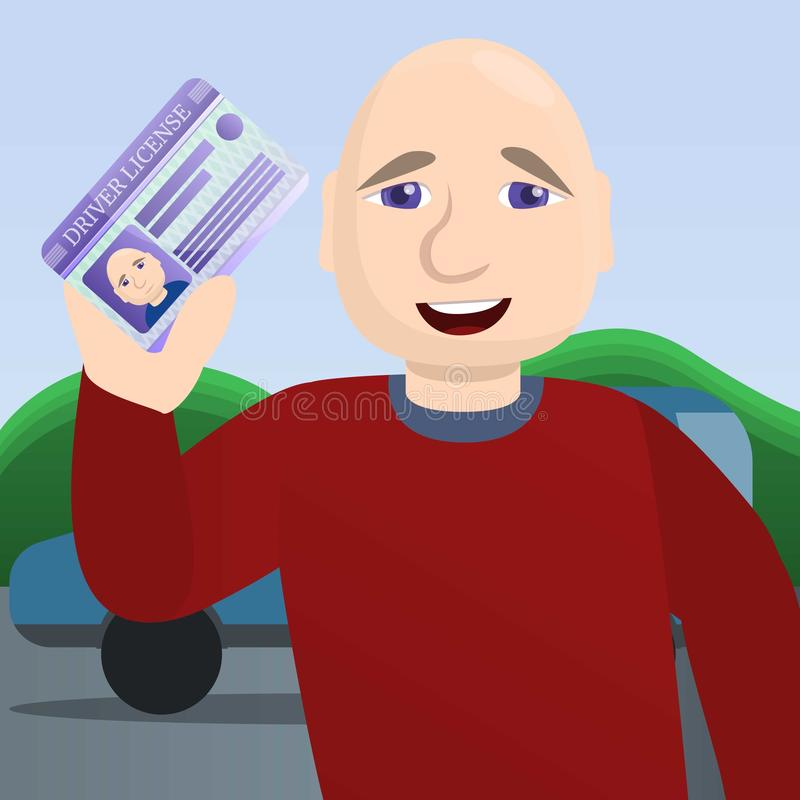 Happy man pass driving exam concept background, cartoon style royalty free illustration