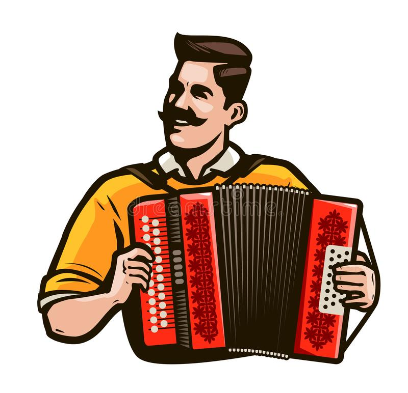 Happy Accordion Player In The National Costume Playing A