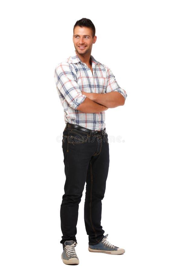 Happy man posing in studio stock photography