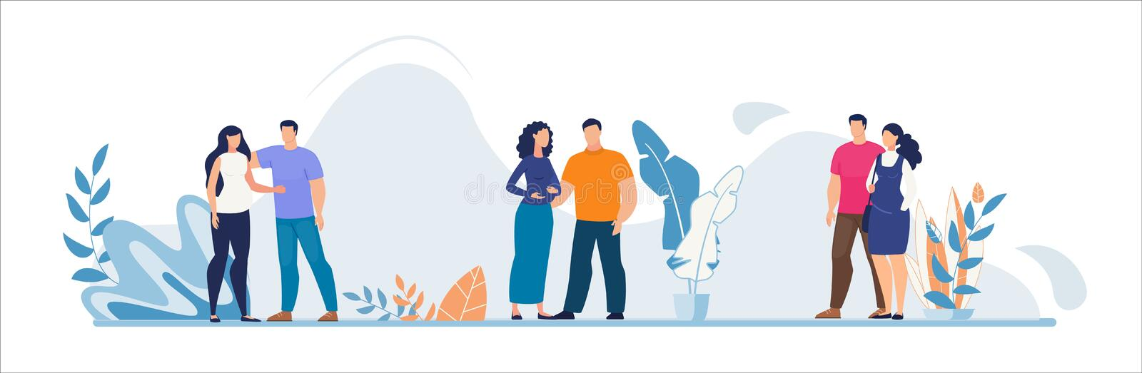 Happy Man and Pregnant Woman Wait for Childbirth. Married Couple Cartoon People Characters Standing Together. Pregnancy, Care and Love. Family Addition. Future vector illustration