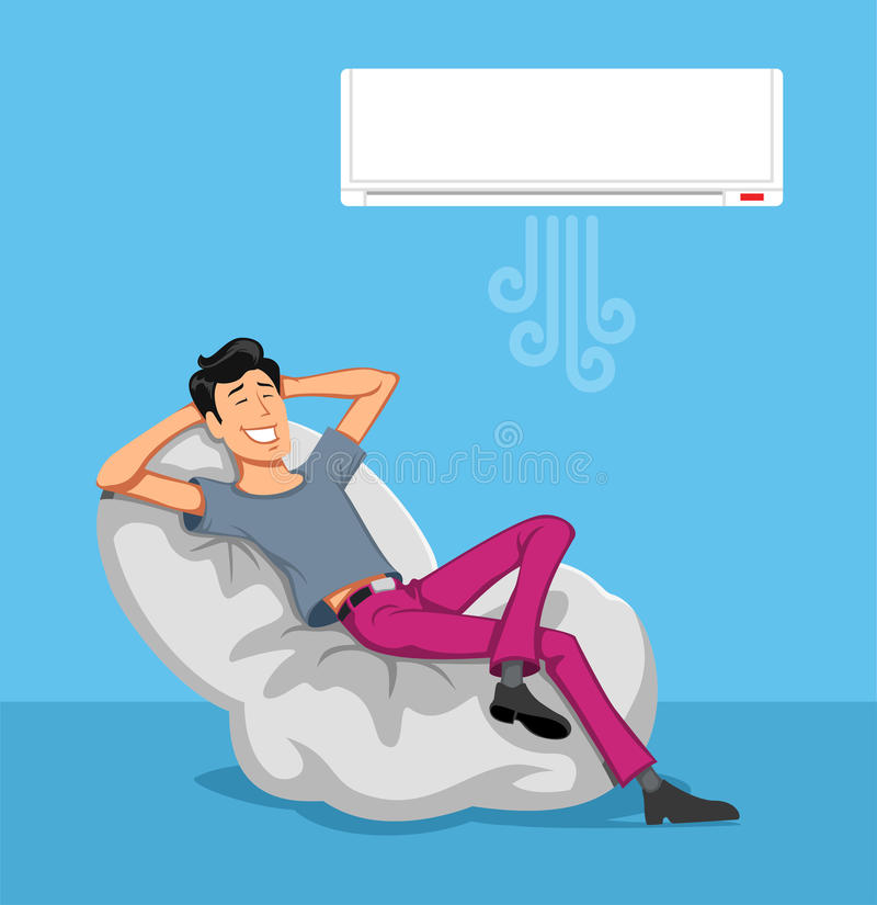 Happy Man Relax with Air-conditioner stock image