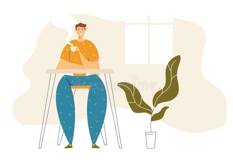 Happy Man Relaxen zu Hause und trinken heißer Kaffee Männlicher Charakter mit Teebezug Guy Sitting in Cafe mit Kaffee lizenzfreie abbildung