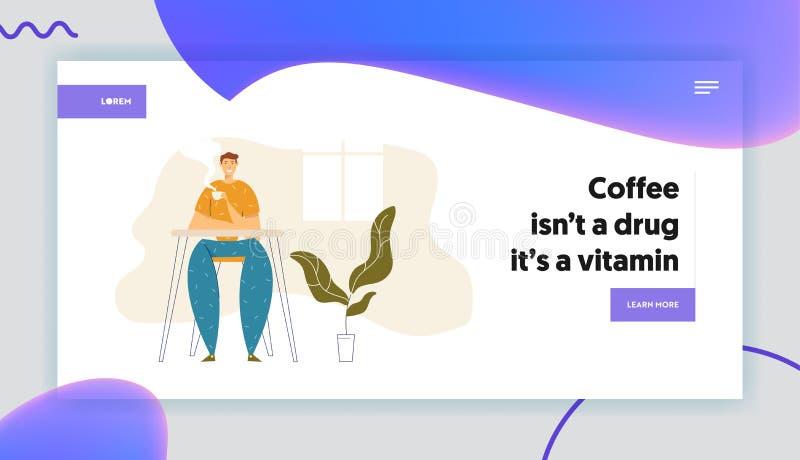 Happy Man Relaxen zu Hause und trinken Hot Coffee Landing Page Männlicher Charakter mit Teebezug Guy Sitting im Café stock abbildung
