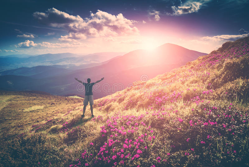 Happy man in a rhododendron valley. Instagram stylisation stock photography