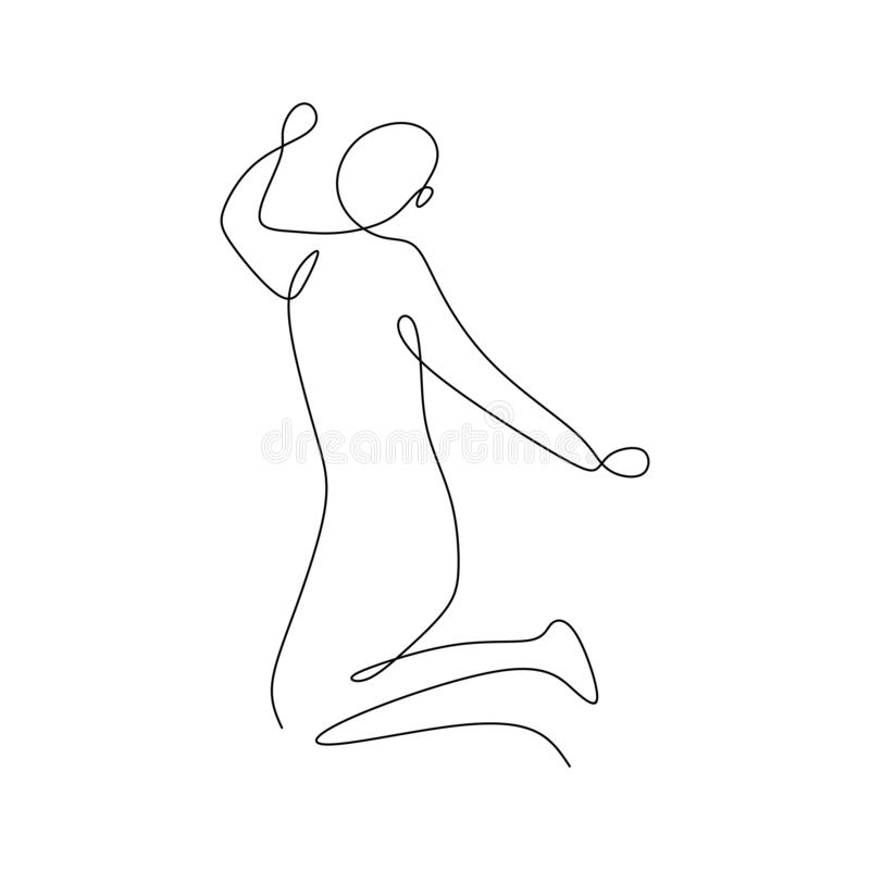 Happy man rising his hand with continuous line art drawing vector illustration minimalist design. concept of winner or healthy royalty free illustration