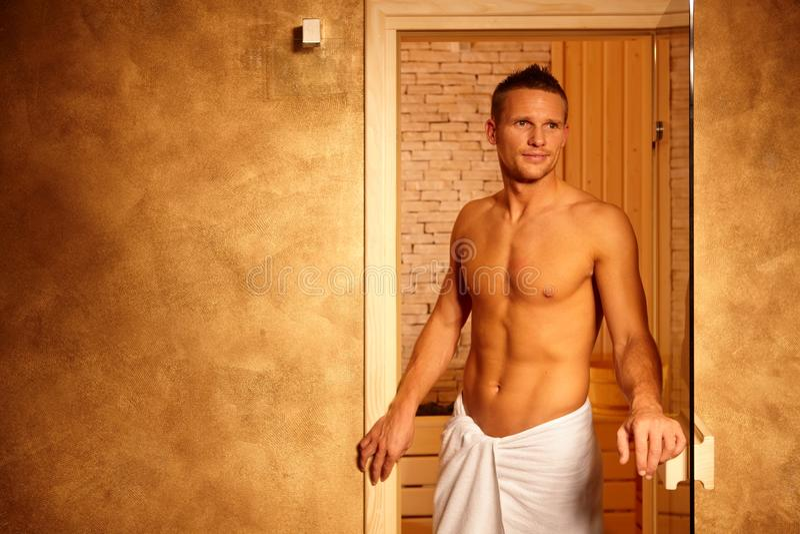 Happy Man After Sauna Stock Photos