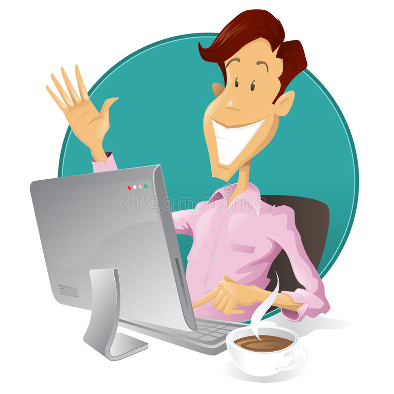 Happy man searching the internet. Retro style illustration of a happy man searching the internet royalty free illustration