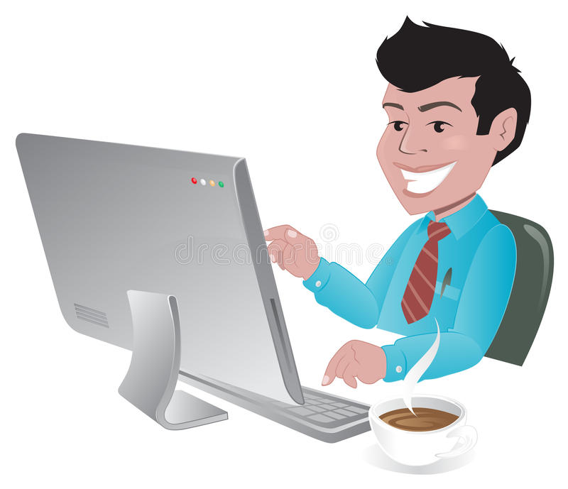 Happy man searching the internet. Illustration of a happy man searching the internet vector illustration
