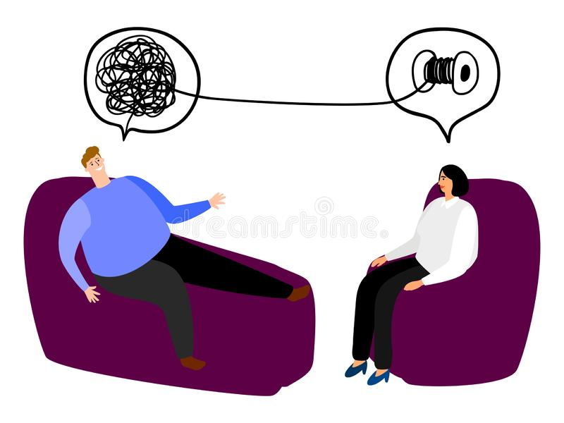 Happy man in the seat of psychotherapy vector illustration. Tangled and untangled brain metaphor. Psychotherapy results vector illustration