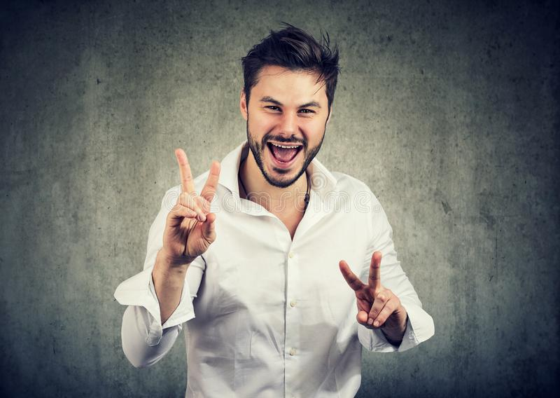 Happy man showing OK sign royalty free stock photo