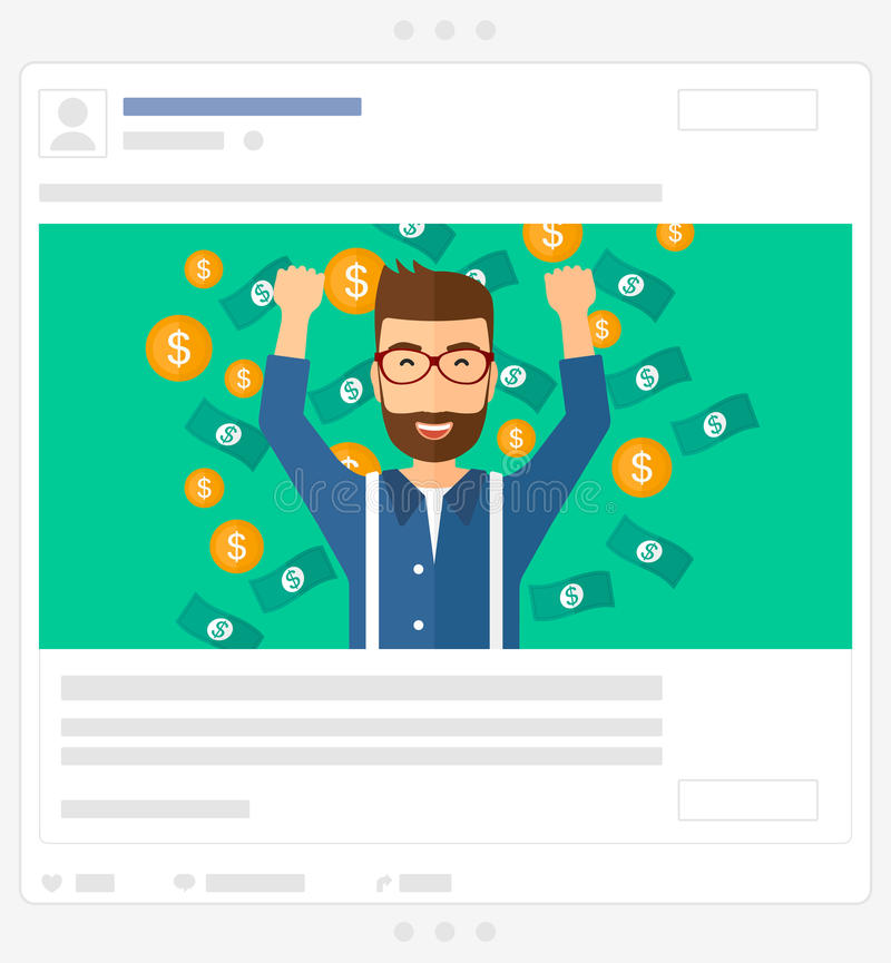 Happy man standing under flying money. Social media post. A successful entrepreneur with raised hands up standing under flying money vector flat design stock illustration