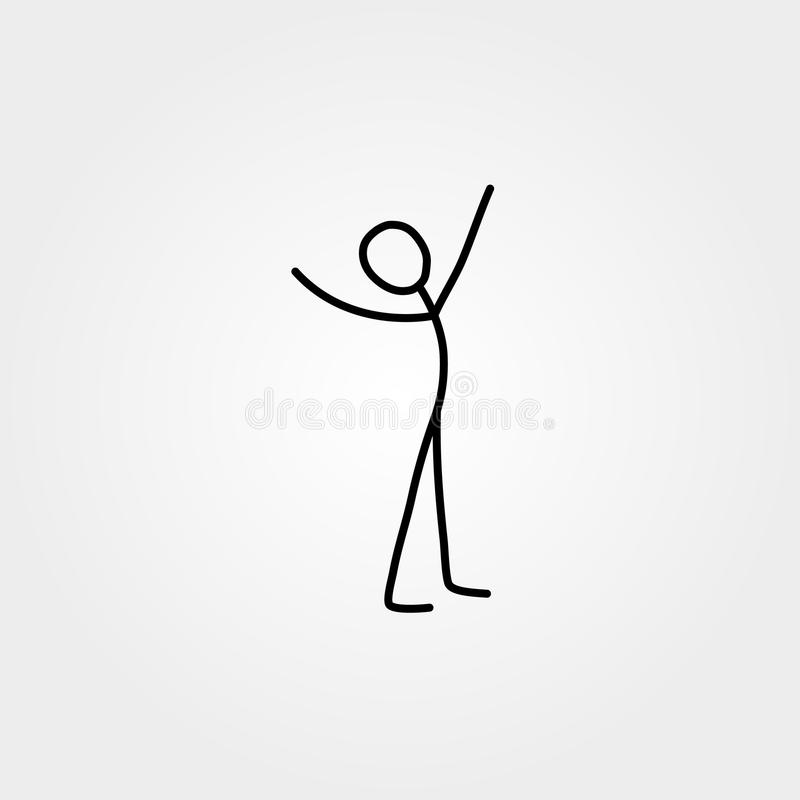 Happy man stick figure vector illustration