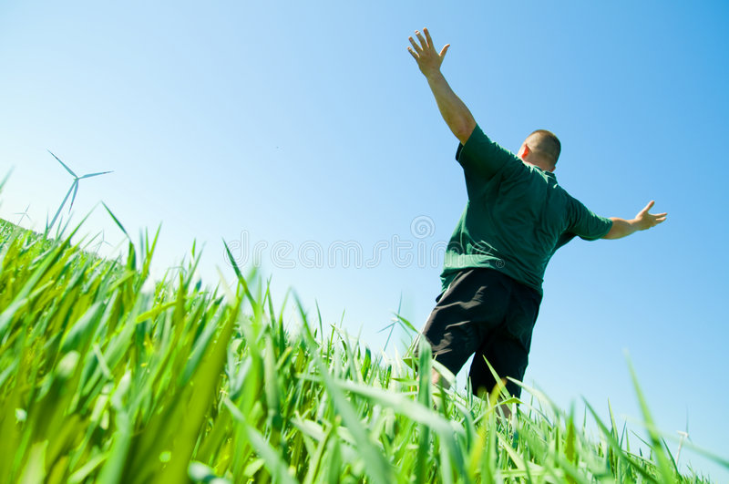 Happy man on the summer field royalty free stock images