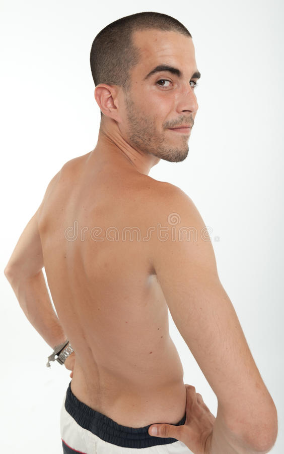 Download Happy Man In Swimming Trunks, Rear View Stock Photo - Image: 38922006
