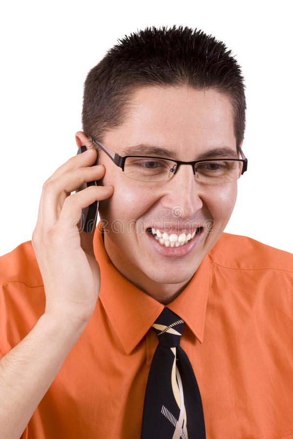 Happy man talking royalty free stock photo
