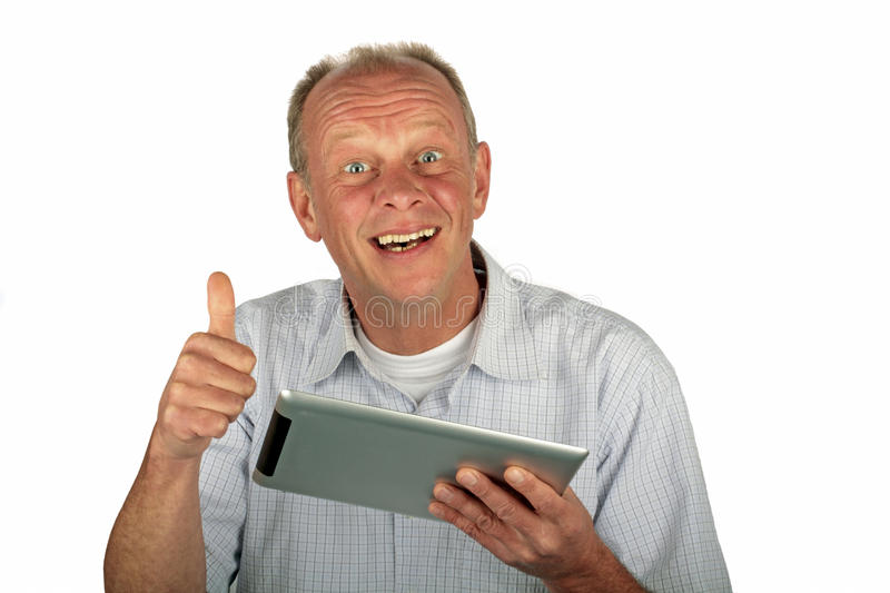 Download Happy Man With Thumbs Up And His Tablet Computer Stock Photo - Image: 24276154