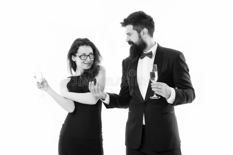 Happy man in tuxedo do proposal to sexy woman. couple in love celebrate engagement with champagne. wedding is soon. love. Happy men in tuxedo do proposal to sexy royalty free stock photo