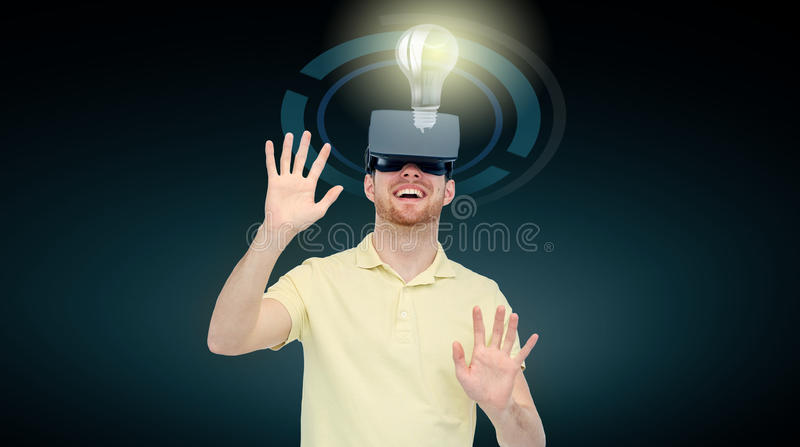 Happy man in virtual reality headset or 3d glasses stock illustration