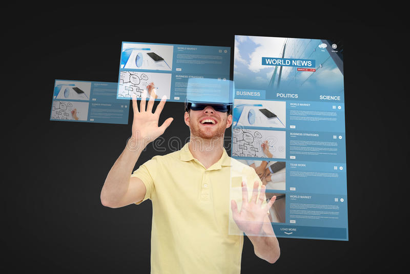 Happy man in virtual reality headset or 3d glasses stock images