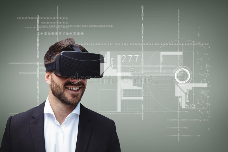 Happy man in VR headset looking at interface against green background with interfaces royalty free illustration
