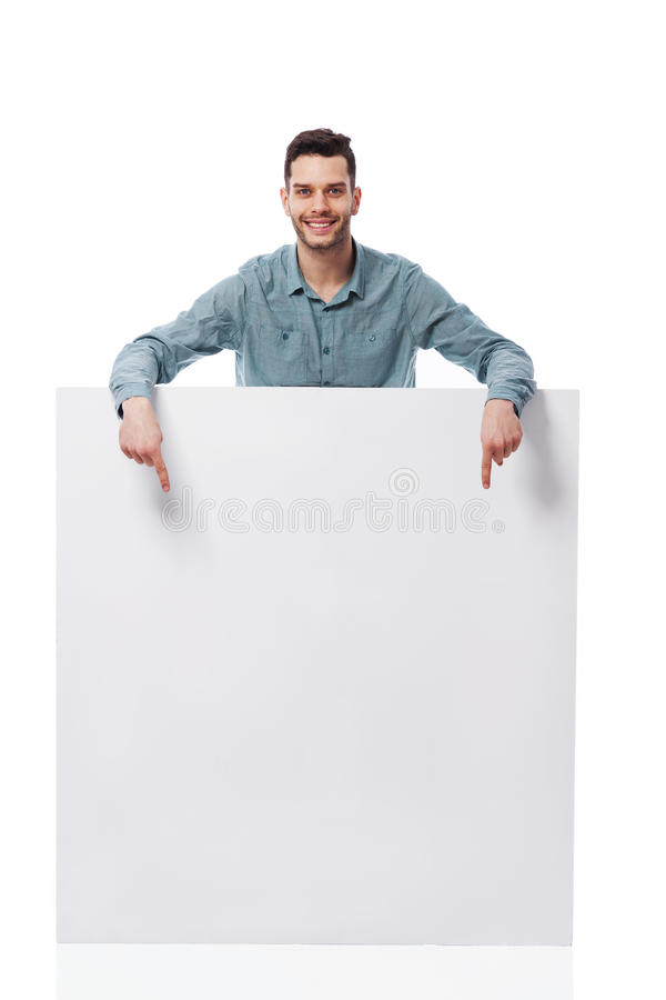 Download Happy man with white board stock photo. Image of expressing - 30705570