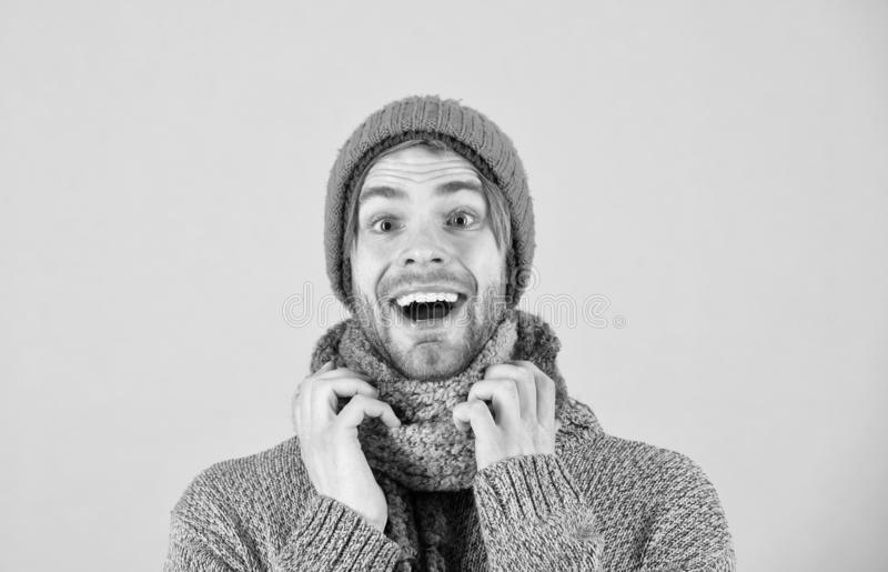 Happy man in winter clothes. Bearded man happy smiling in warm clothes. Winter is time for comfort and warmth. Happy stock images