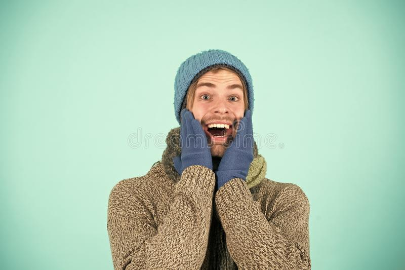Happy man in winter clothes. Man happy smiling on winter holidays. Holidays are happy days. Be festive royalty free stock images