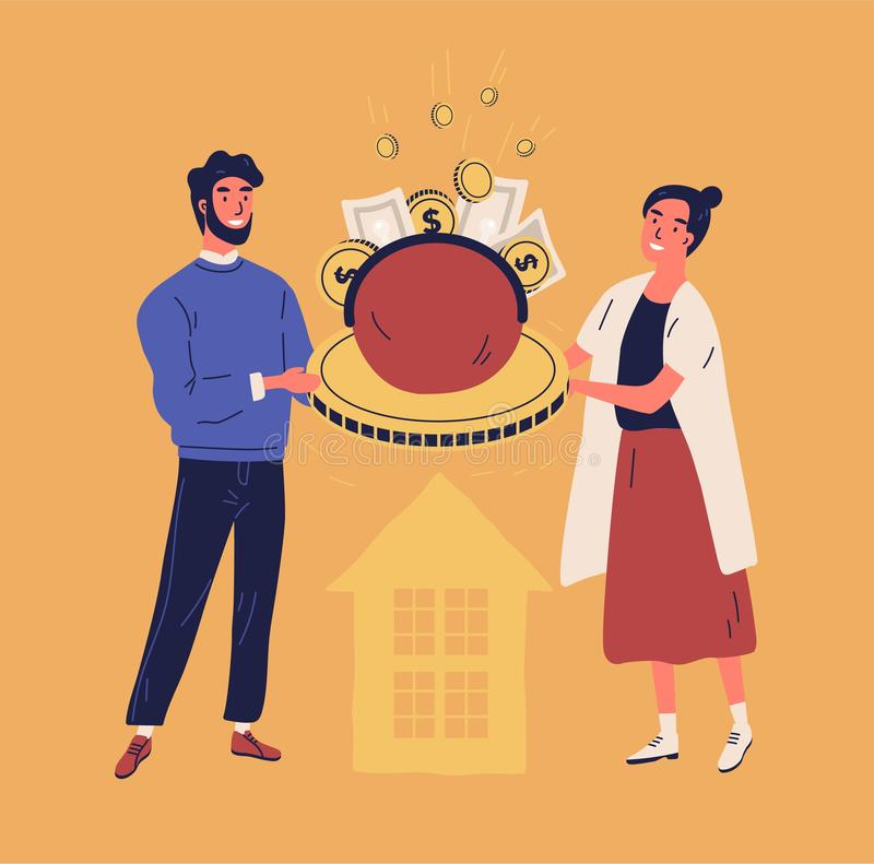 Happy man and woman holding purse or wallet with coins and banknotes. Concept of family or household budget, financial stock illustration