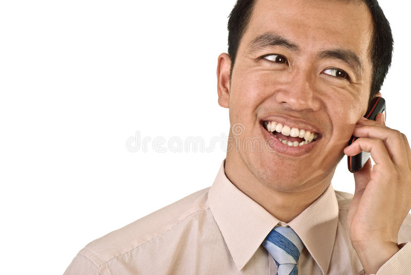 Happy manager on phone. Closeup portrait with copyspace on white stock photography