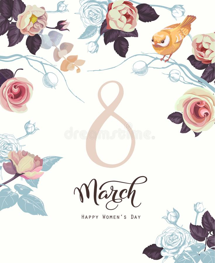 Happy 8 March. International women s day Retro greeting card. Calligraphic words surrounded by bouquets of roses and royalty free illustration
