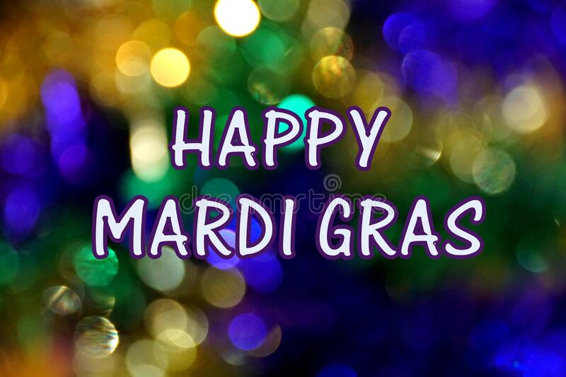 Happy Mardi Gras, with gold, green and purple background stock image
