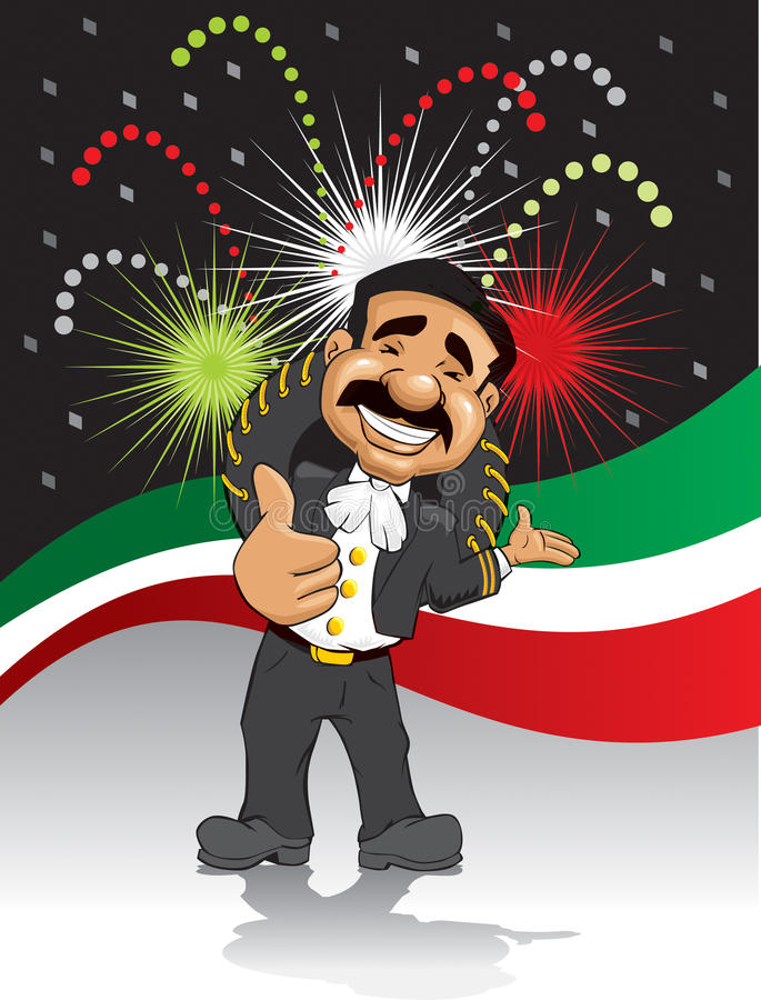 Happy Mariachi. Drawing of a happy mariachi with moustache, with his thumb up welcoming to a mexican party vector illustration