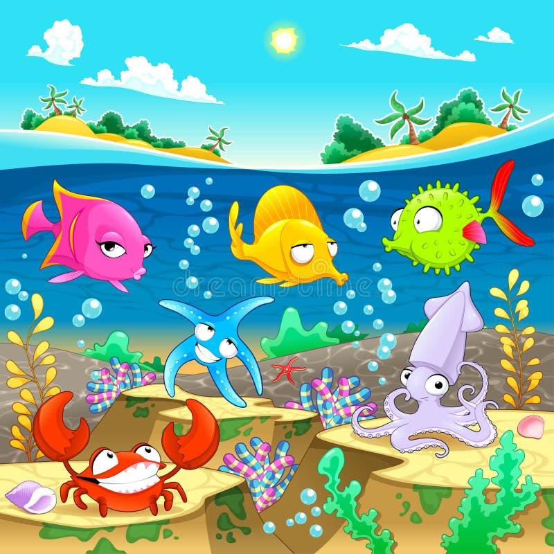 Happy marine family under the sea. stock image