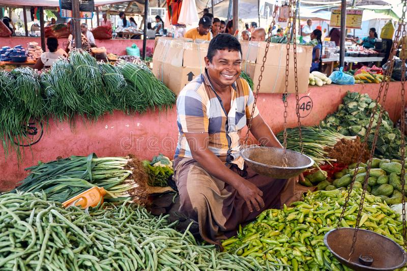 Happy Market Seller Smile and Sell Local Vegetable. Natural Vegetable Organic Tropical Food Marketplace. Green Diet Agriculture Grocery. Exotic Veggie Meal for royalty free stock photography