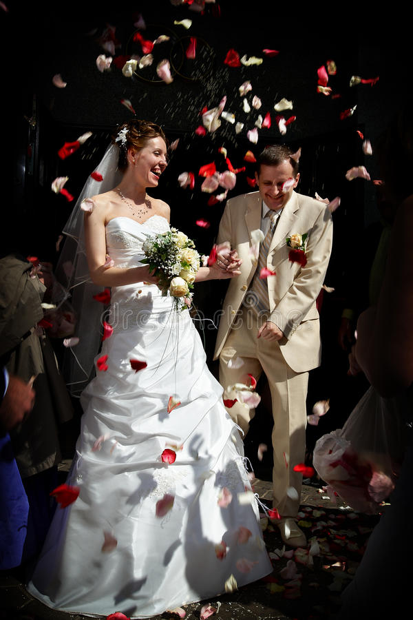 Download Happy Marriage With Rose Petals. Stock Photo - Image: 12853300