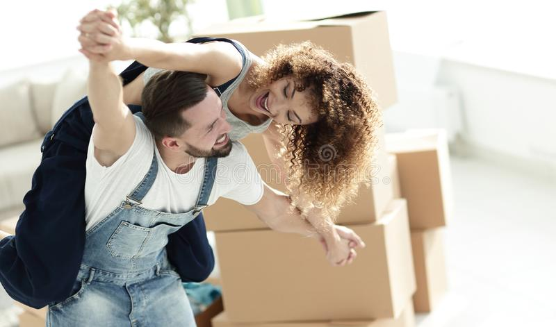 Happy married couple in a new house. royalty free stock images