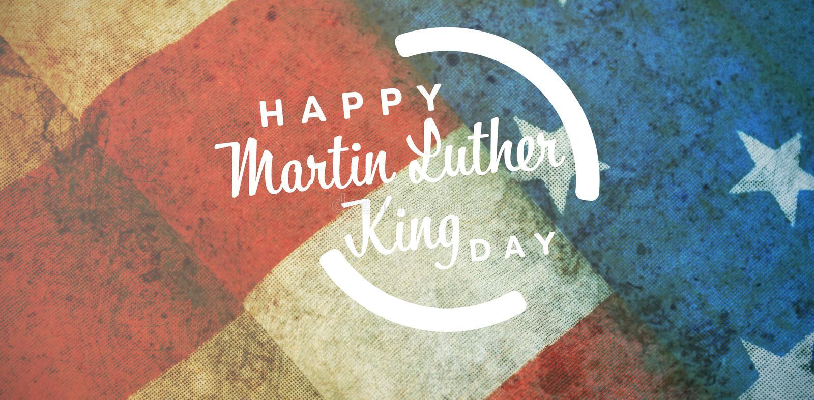 Composite image of happy martin luther king day. Happy Martin Luther King day against close-up of folded american flag royalty free illustration