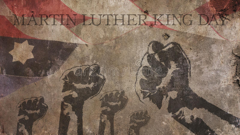 Happy Martin Luther King Day. America Flag Concrete stock illustration