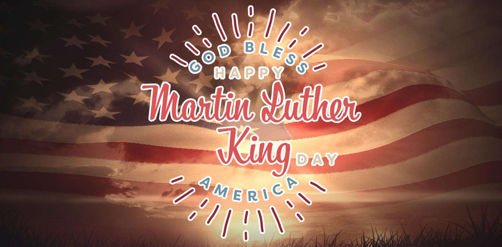 Composite image of happy martin luther king day, god bless america. Happy Martin Luther King day, god bless america against composite image of digitally royalty free stock image