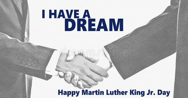 Happy Martin Luther King jr day. I have a dream and white and black handshaking background. Happy Martin Luther King jr day I have a dream, text. Black and white stock photos