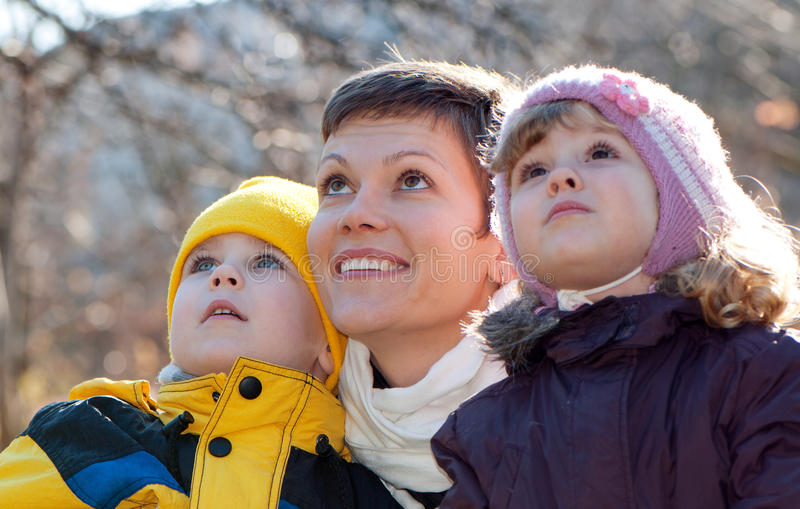 Download Happy Mather And Children In Park Stock Photo - Image: 17152872