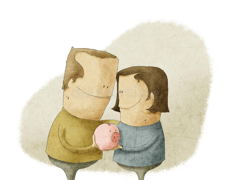 Happy mature couple holding a piggy bank vector illustration