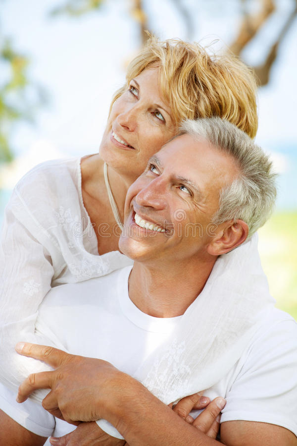 Happy mature couple outdoors royalty free stock photography