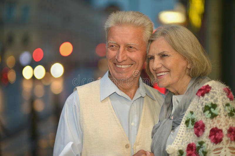 Happy mature couple. In romantic photo session stock images